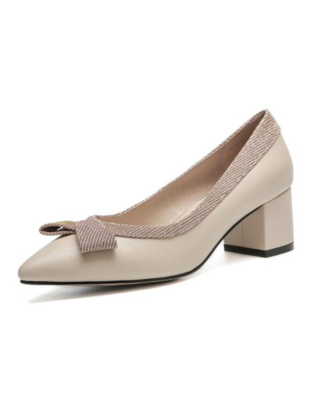 Milanoo Mid-Low Heels For Woman Pointed Toe Chunky Heel Slip-On Bows Pretty Pink Pumps Heels