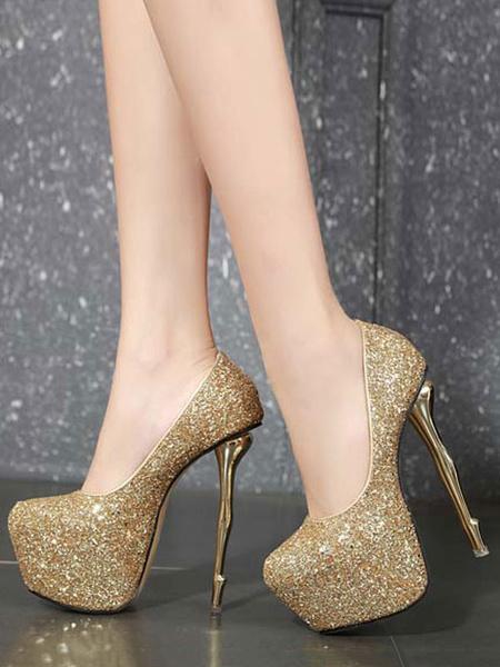 Milanoo Bombas de plataforma para mujer Zapatos de punta redonda con purpurina dorada sexy