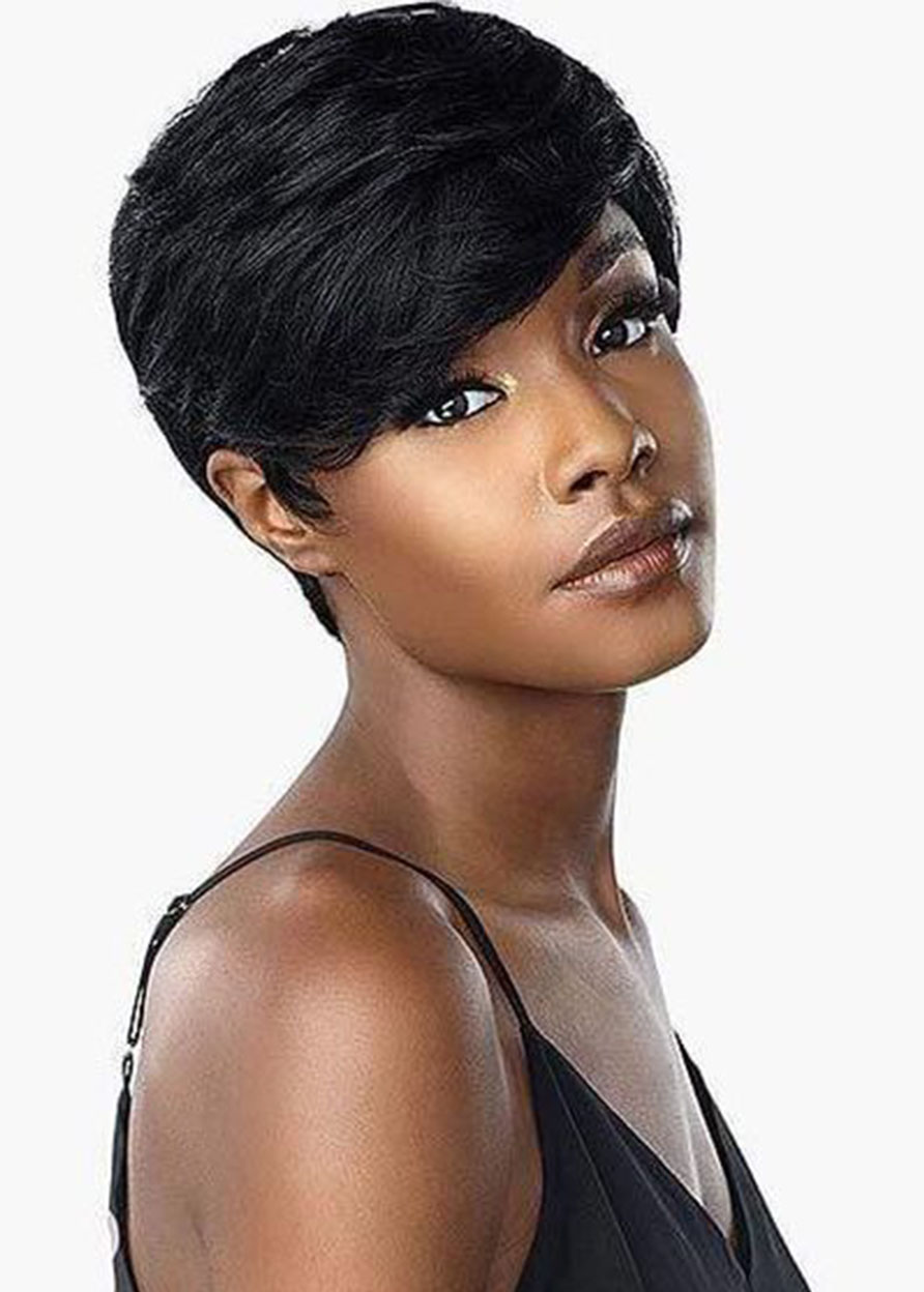 Lace Front Cap Human Hair Natural Straight Women 120% Short Wigs Heat Resistant Natural Looking Daily Party Wigs Cosplay Wigs with Natural Bangs