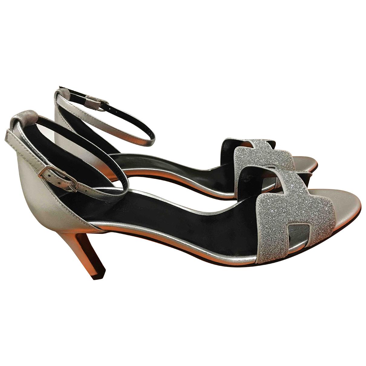 Hermes - Sandales Premiere pour femme en cuir - argente