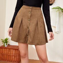 Button Up Suede Pleated Skirt