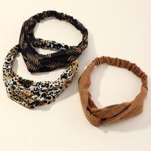 3pcs Leopard Twist Headband
