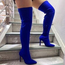 Stiefel mit spitzer Zehenpartie und Stockelabsatz