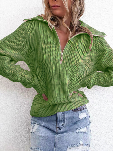 Yoins Zip Front Turn Down Collar Knit Sweater