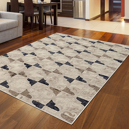 Iseo Isac Modern Geometric Contemporary Area Rug, One Size , White