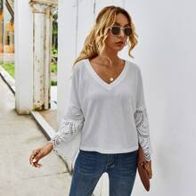 Contrast Guipure Lace Sleeve V-neck Tee