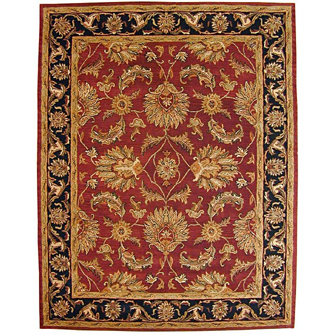 Burgundy Traditions Agra Wool Rug (Burgundy 8' x 11')