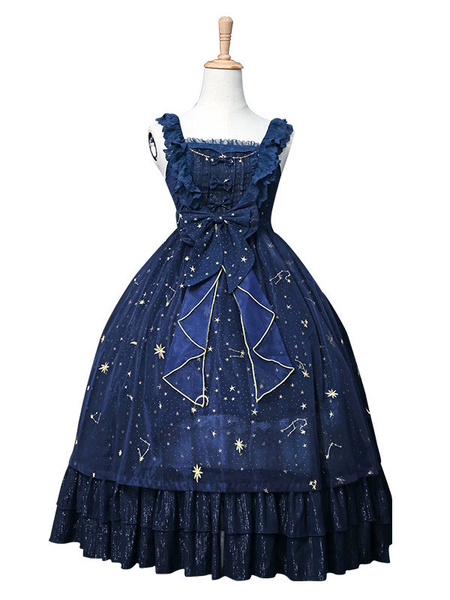 Milanoo Sweet Lolita JSK Dress Chiffon Lace Ruffle Embroidered Bow Lolita Jumper Skirt