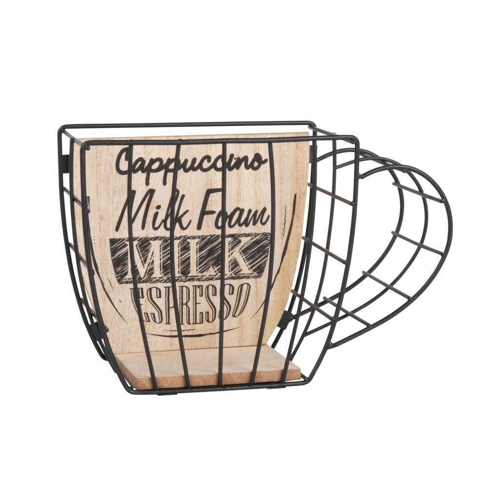 Kapselhalter Tasse, aus schwarzem Metall