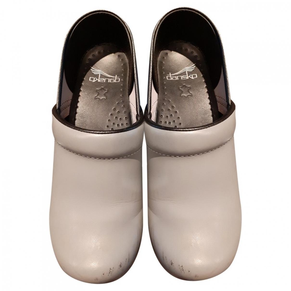 - Sabots   pour femme en cuir - gris