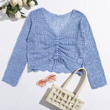 Ruched Drawstring Knot Pointelle Knit Crop Sweater