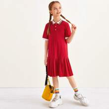 Girls Striped Collar Pleated Hem Polo Dress
