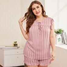 Plus Stripe Print Contrast Lace Trim Shorts PJ Set