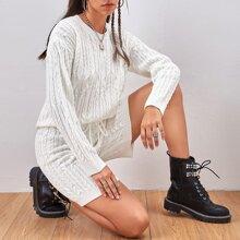 Drop Shoulder Cable Knit Sweater & Shorts Set