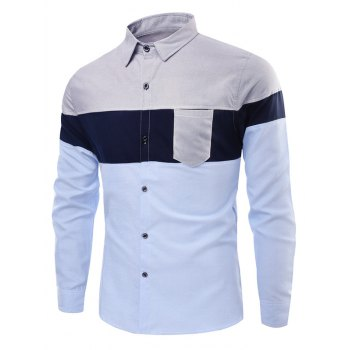 Colorblock Chest Pocket Stitching Button Up Shirt