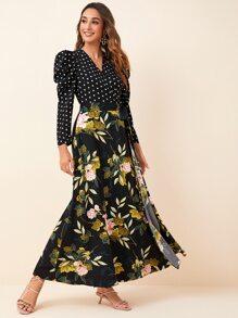 Gigot Sleeve Polka Dot Bodice Floral Print Belted Dress