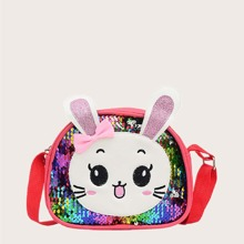 Girls Cartoon Rabbit Design Sequin Decor Crossbody Bag