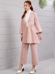 Lapel Collar Sequin Insert Top With Pants