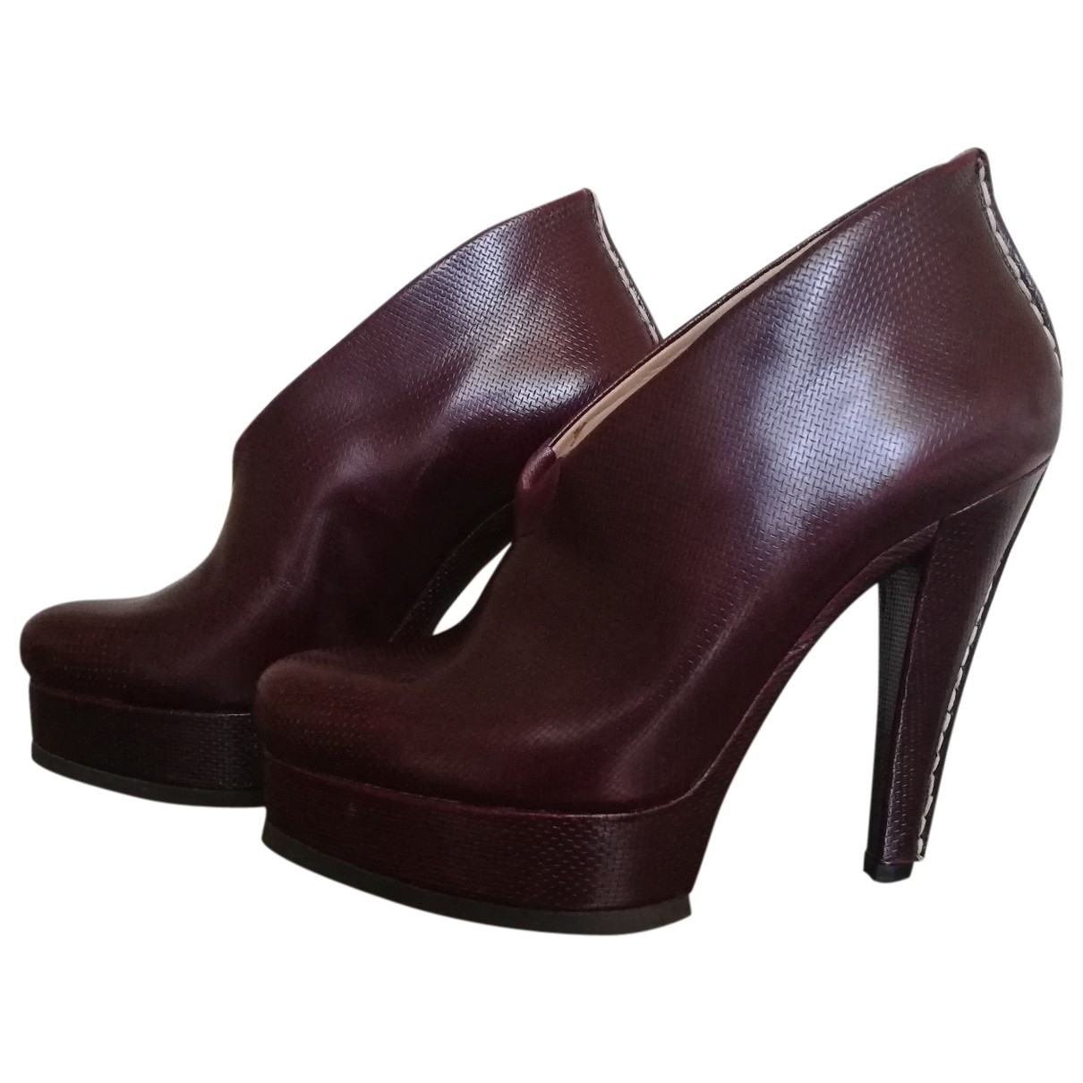Jil Sander \N Burgundy Leather Heels for Women 37 EU