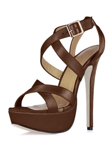 Milanoo Platform High Heel Sandals Womens Black Open Toe Criss Cross Stiletto Heel Sandals
