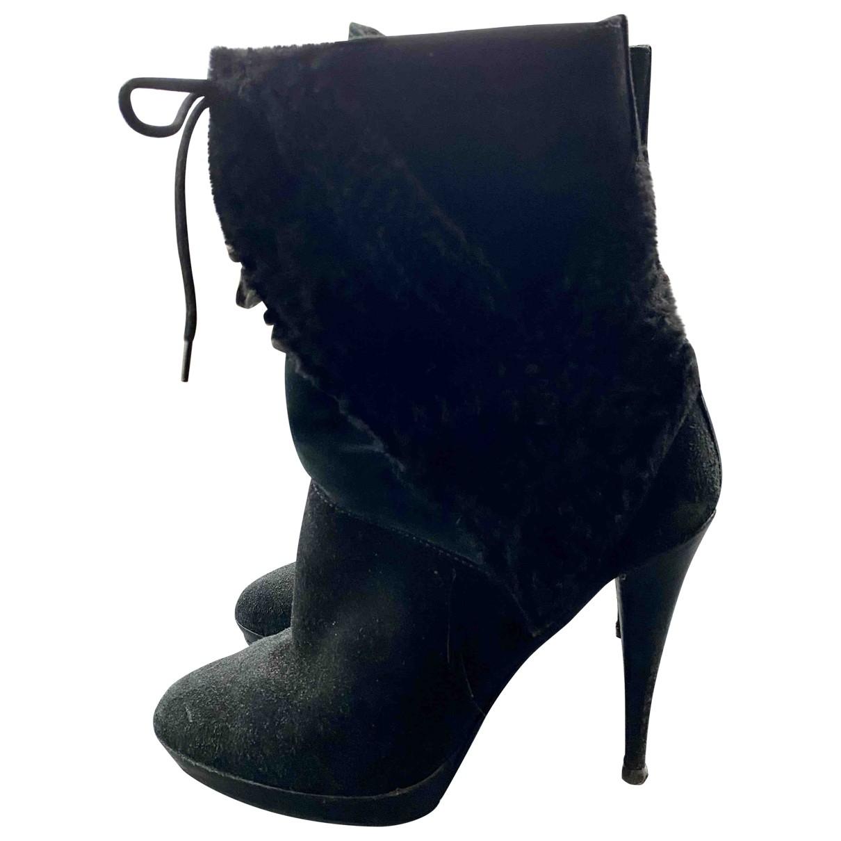 Burberry - Boots   pour femme en suede - noir