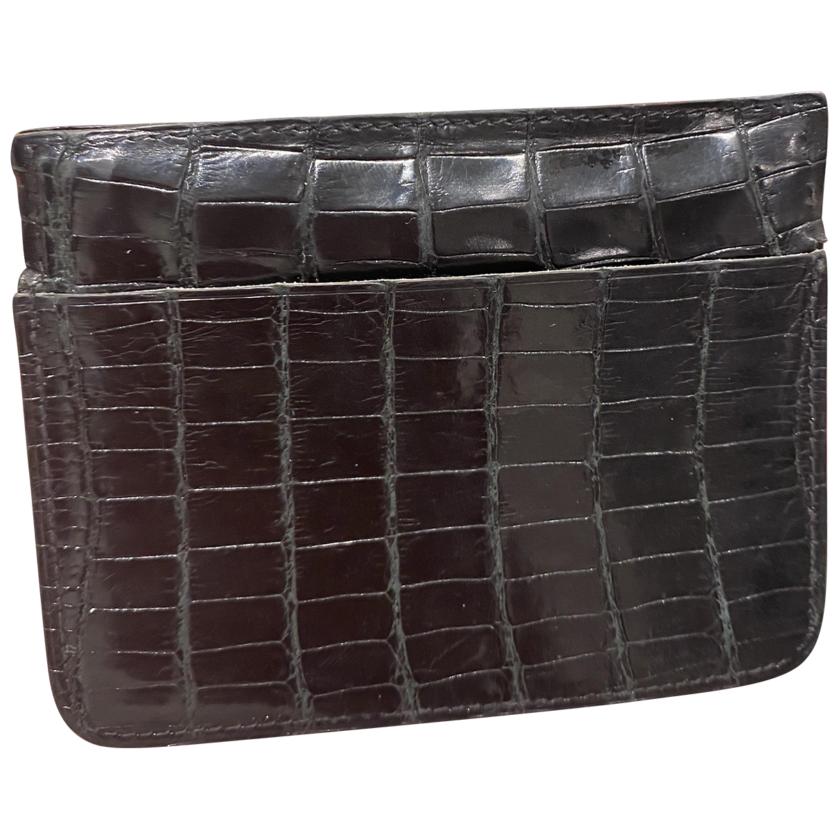 Non Signé / Unsigned \N Black Alligator wallet for Women \N