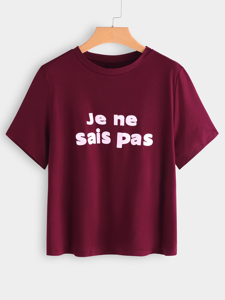 Yoins Plus Size Burgundy Letter Print T-shirt