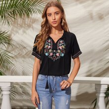Tie Neck Floral Embroidery Top