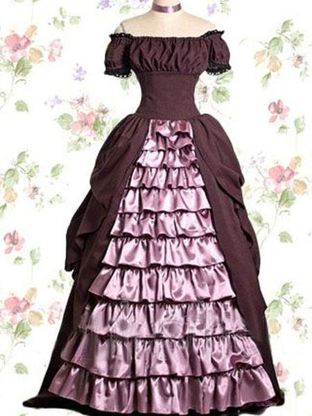 Milanoo Victorian Retro Costumes Women's Lace Trim Ruffles Short Sleeves Off the Shoulder Silk Ball Gown Cupcake Dress