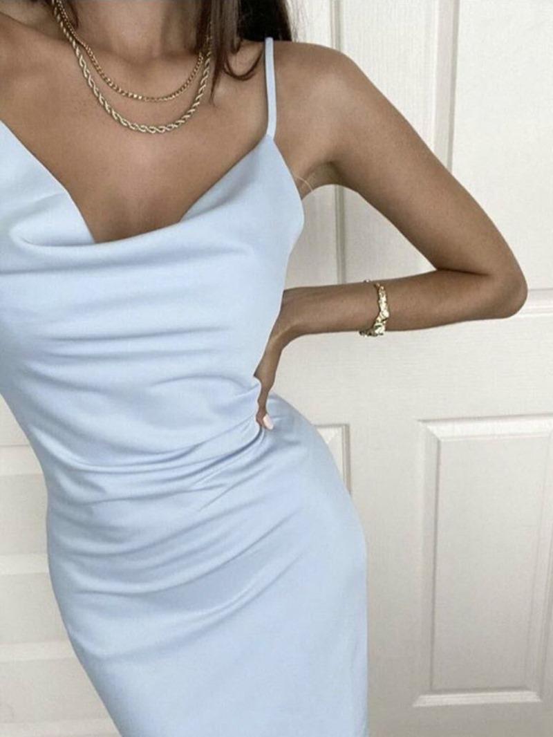 Ericdress Pleated Mid-Calf Sleeveless Spaghetti Strap A-Line Dress