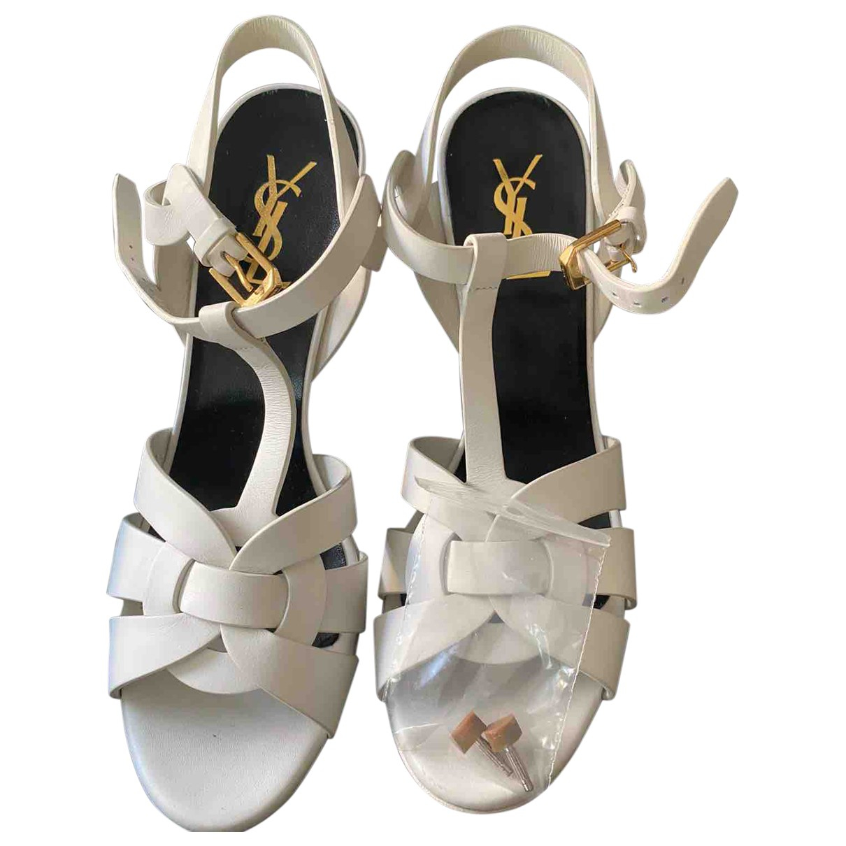 Saint Laurent Tribute Sandalen in  Weiss Leder