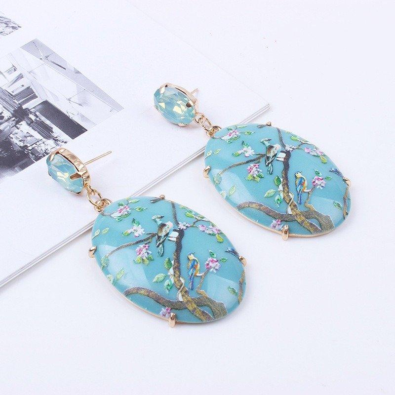 Ethnic Bird Flower Earrings Resin Printer Drop Earrings Retro Earrings For Women