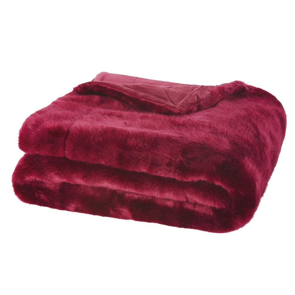 Decke aus rotem Kunstpelz 150x180