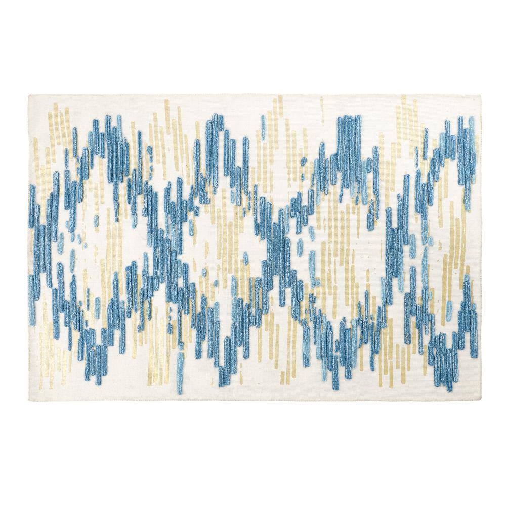 Teppich aus Wolle und Baumwolle mit Streifenmuster 140x200