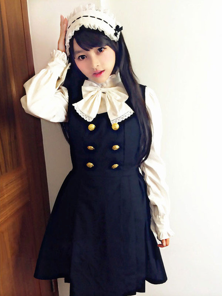 Milanoo Classic Lolita Outfits Black Jumper Skirt With Long Sleeve Stand Collar Bows Ruffles Blouse