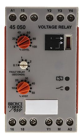 Broyce Control Voltage Monitoring Relay With SPDT Contacts, 110 V ac Supply Voltage, 1 Phase, Overvoltage