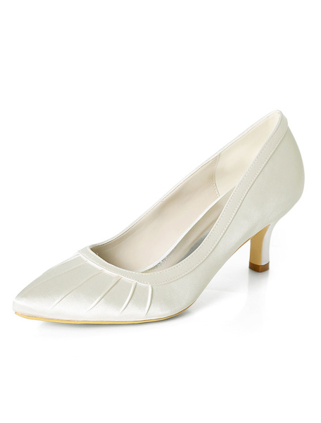 Milanoo Dark Navy Mother Shoes Satin Pointed Toe Wedding Guest Shoes Kitten Heel Bridal Shoes