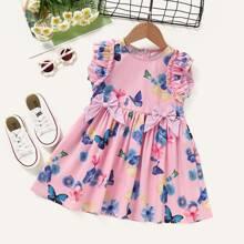 Kleid mit Schmetterling Muster und Schleife