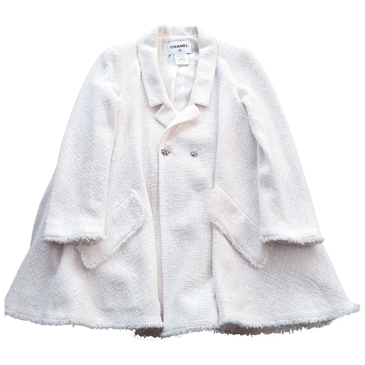 Chanel \N White Tweed coat for Women 38 FR