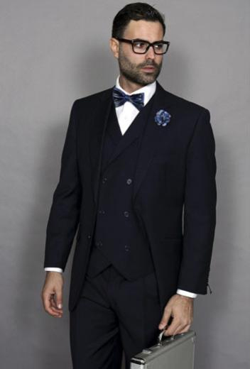 Men's Italian Double Breasted Vest Navy 3 Piece Wool Pleated Pant