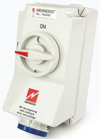MENNEKES Switchable IP67 Industrial Interlock Socket 2P+E, Earthing Position 6h, 32A, 230 V, Blue