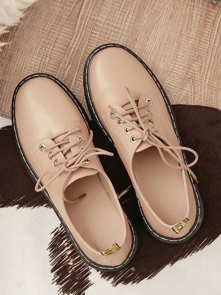 Milanoo Zapatos planos de cordones con punta redonda academicos Oxfords para mujer