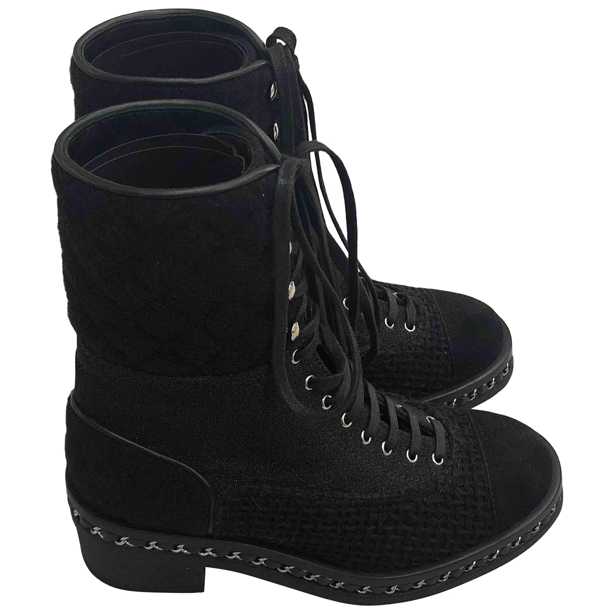Chanel \N Black Tweed Ankle boots for Women 37 EU
