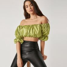 Ruched Detail Puff Sleeve Crop Top