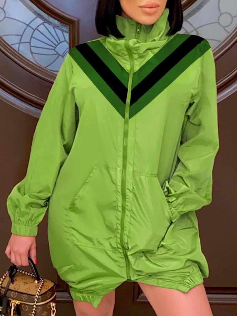 LW Lovely Casual Turtleneck Zipper Design Patchwork Green Coat