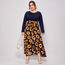 A-Linie Kleid mit Blumen Muster und Guertel