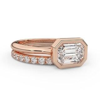 2.35 CT Moissanite Diamond East West Emerald Bezel Diamond Bridal Set (9.75 - Rose)