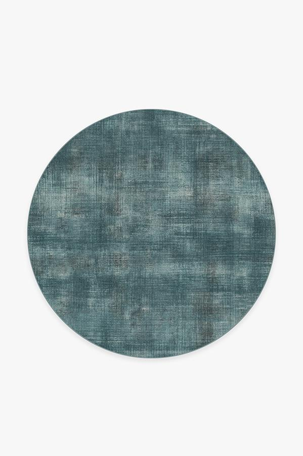Washable Rug Cover & Pad | Sudaria Solid Teal Blue Rug | Stain-Resistant | Ruggable | 6' Round