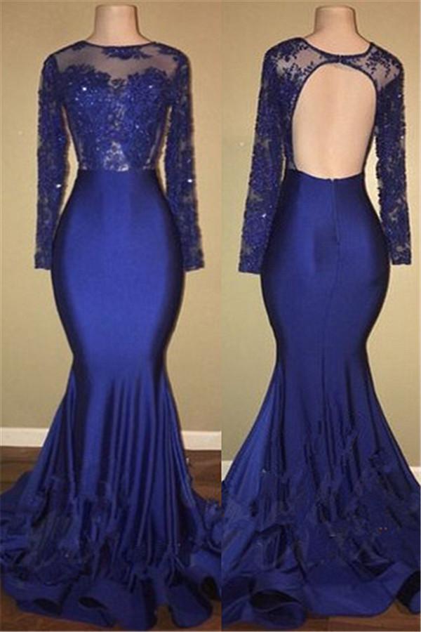 Sexy espalda abierta real azul real modelo vestidos de baile | Vestido de noche de sirena de manga larga de encaje BA7863