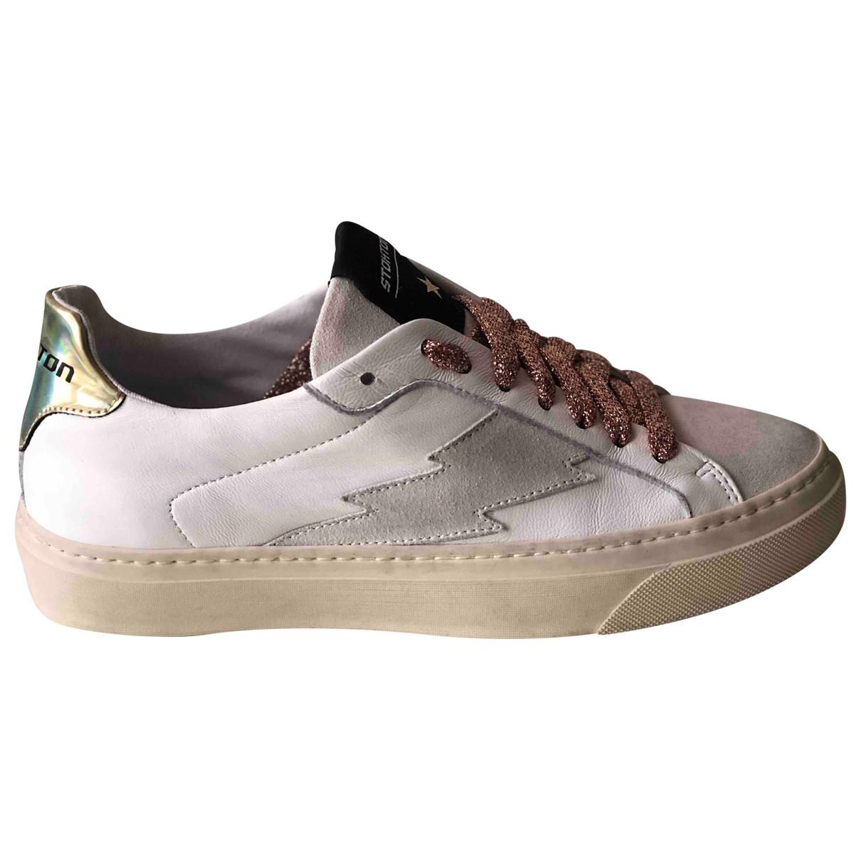 Stokton \N Sneakers in  Weiss Leder